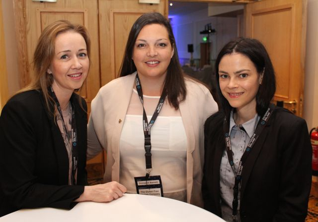 Jeananne Kelliher, Doireann Barrett, The Gluten Free Kitchen and Louise Cassidy, AIB, at the International Business Women's Conference in the Brandon Hotel on Monday. Photo by Dermot Crean