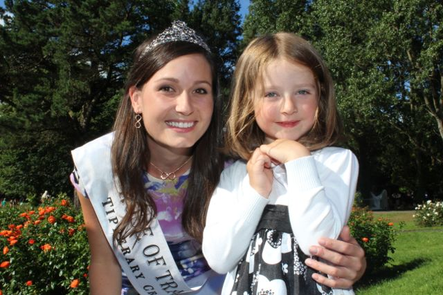 Olivia Crean with the newly crowned Rose of Tralee Maggie McEldowney in the Rose Garden at Tralee Town Park.