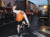 Kevin Finn takin part in the Cycle Against Suicide making his way through town on Saturday night. Photo by Dermot Crean