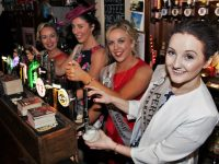 Roses twinned with The Chearnóg pull a pint behind the bar, from right to left: Denise Quigley (Perth), Lorna Whyte (Dublin), Mairéad McHugh (Fermanagh), Blathnaid Loughran (Scotland). Photo by Gavin O'Connor.