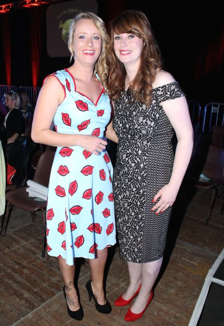 Catriona McCaughley and Sarah Douglas at the Austin Stacks Strictly Come Dancing night in The Dome on Saturday. Photo by Dermot Crean