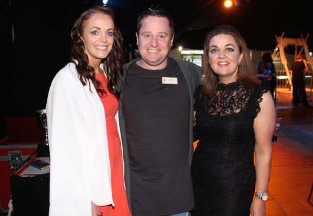Michelle Culloty, James Brennan and Helen Enright at the Austin Stacks Strictly Come Dancing night in The Dome on Saturday. Photo by Dermot Crean