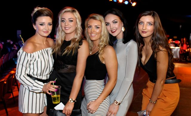 Kelly Houlihan, Kayleigh Windsor, Christina Foley, Rebecca Stack and Anna Foley at the Austin Stacks Strictly Come Dancing night in The Dome on Saturday. Photo by Dermot Crean