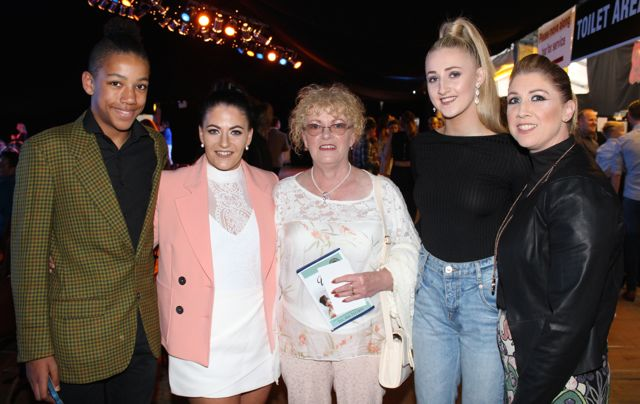 Michael Everett, Cassie Leen, Geraldine Hennessy, Shannon Monaghan and Helena O'Leary at the Austin Stacks Strictly Come Dancing night in The Dome on Saturday. Photo by Dermot Crean