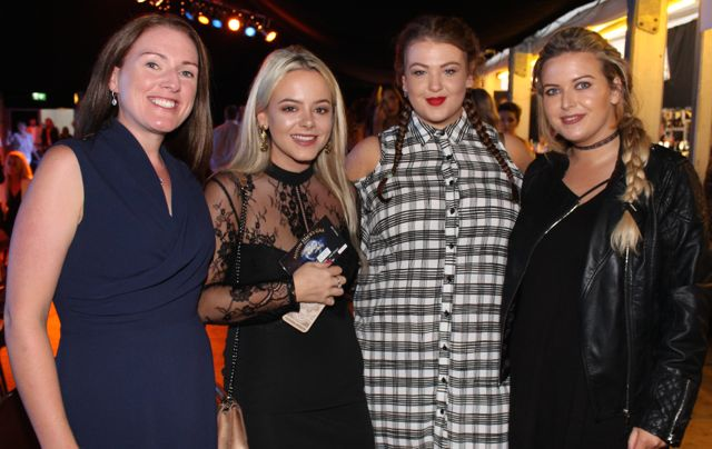 Deirdre O'Connor, Katie Keane, Sinead Flanagan and Adah Benner at the Austin Stacks Strictly Come Dancing night in The Dome on Saturday. Photo by Dermot Crean
