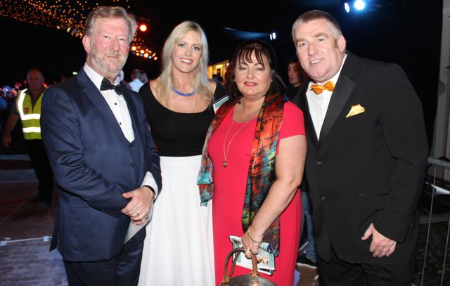The judges, Aidan O'Carroll, Toireasa Ferris, Kay Lewis and Tim Landers at the Austin Stacks Strictly Come Dancing night in The Dome on Saturday. Photo by Dermot Crean