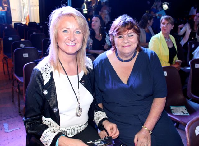 Esther O'Connell of Esther's Boutique, Abbeyfeale (sponsor of Kathleen Raymond) and Karen Lonergan at the Austin Stacks Strictly Come Dancing night in The Dome on Saturday. Photo by Dermot Crean