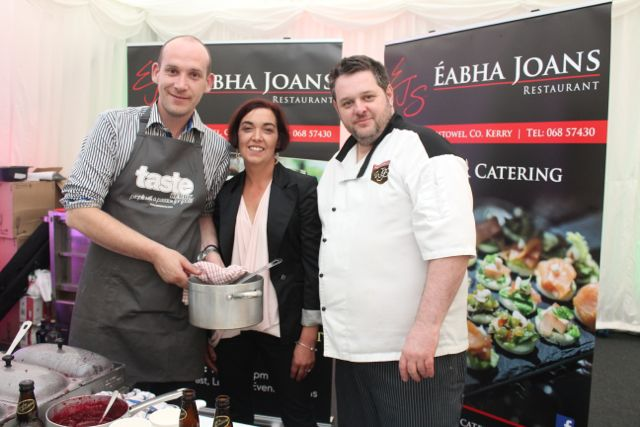Gerard Lenihan, Lorna O'Shea and Noel Keane of Eabha Joan's Restaurant Listowel at the Taste Kerry event in the Dome on Saturday. Photo by Dermot Crean