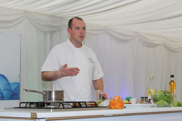 Sid Sheehan giving a cookery demo at the Taste Kerry event in the Dome on Saturday. Photo by Dermot Crean