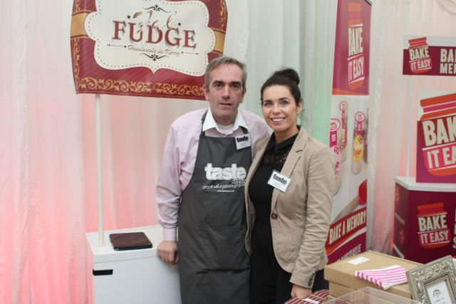 John Harty of Fab Fudge and Deirdre Spillane at the Taste Kerry event in the Dome on Saturday. Photo by Dermot Crean