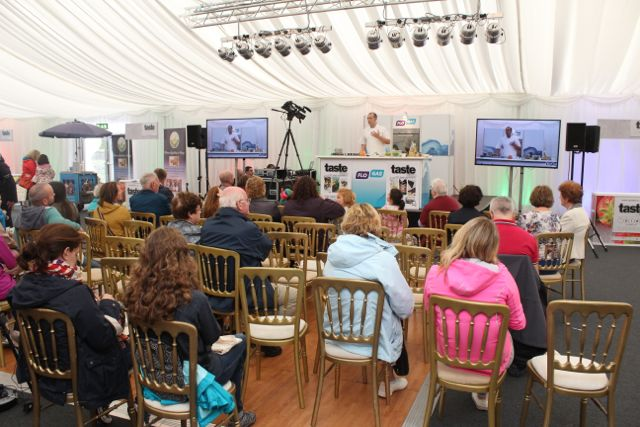 People enjoying the cookery demo at the Taste Kerry event in the Dome on Saturday. Photo by Dermot Crean