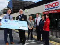 Damian Morrison (Tesco), Steve Baker (Banna Sea Rescue), Marie Morrison, Austin McGinley, Nicola Hutchinson and Noelle Fitzgerald at the cheque handover from Tesco to Banna Sea Rescue. Photo by Gavin O'Connor.
