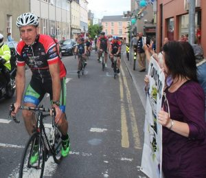 Sean Kelly gets over the line at the Tour de Munster stop off in Tralee. Photo by Gavin O'Connor.