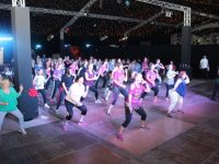 Dancers at the Zumbathon in the Dome on Saturday. Photo by Dermot Crean