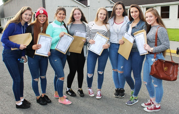 Geri Maye O'Sullivan, Emma Daly, Blathnaid Cotter, Sarah Ferris, Vilte Gaidelyge, Louise Crowley, Ioanna Ignatov and Eimer Ellard receiving their Junior Cert results in Presentation Secondary School. Photo by Gavin O'Connor.