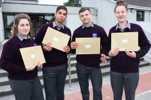 Michaela Lenihan, Petr Olah, Nikita Malovs and Jasmine Griffin receiving their Junior Cert results Coláiste Gleann Lí. Photo by Gavin O'Connor.