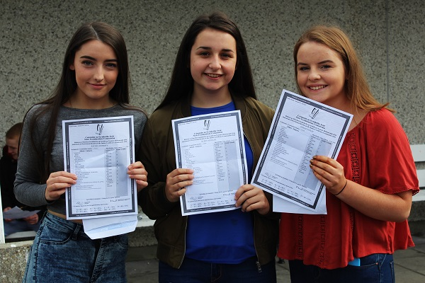 Rachel Doherty, Ailbhe Mangan and Sinead Foran receiving their Junior Cert results in Mercy Mounthawk. Photo by Gavin O'Connor.