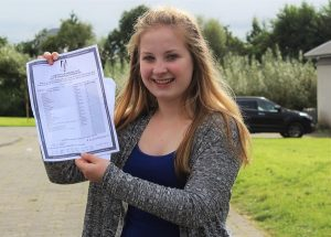 Laura Harty who got 11 A's receiving her Junior Cert results in Mercy Mounthawk. Photo by Gavin O'Connor.
