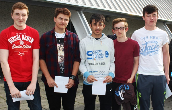 Richard Williams, Caspar Korol, Robin Sills, Brian Waldron and Shane McCarthy receiving their Junior Cert results in Mercy Mounthawk. Photo by Gavin O'Connor.