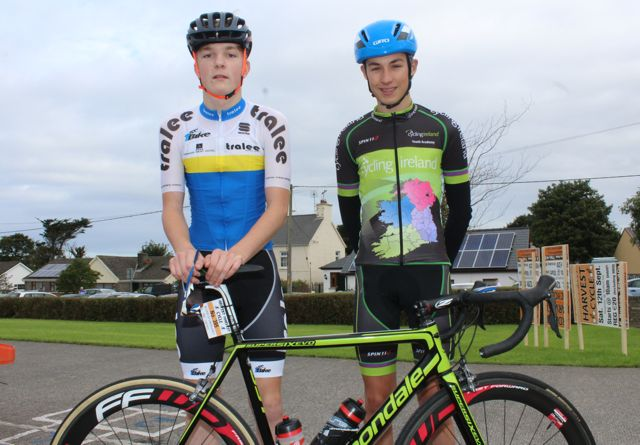 Robbie Scott and David Fitzgerald taking part in the Ardfert Harvest Cycle on Saturday morning. Photo by Dermot Crean