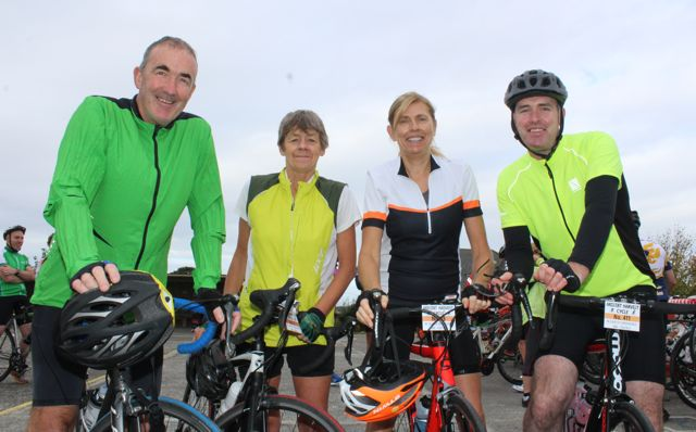 John and Kit Moran, Ursula McCarthy and David Moore taking part in the Ardfert Harvest Cycle on Saturday morning. Photo by Dermot Crean