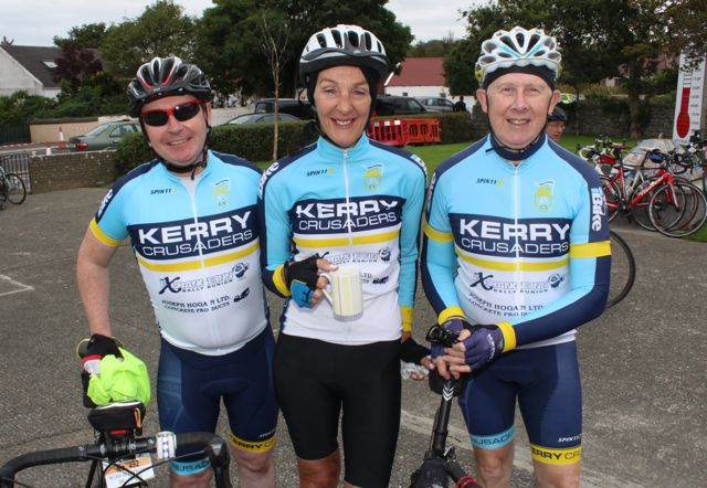 Tim Harrahan, Maura Fitzmaurice and Jim Quinlan taking part in the Ardfert Harvest Cycle on Saturday morning. Photo by Dermot Crean