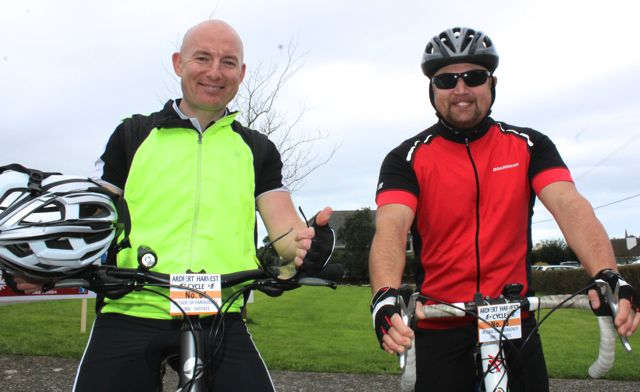 Declan Sheehan and Callum McElligott taking part in the Ardfert Harvest Cycle on Saturday morning. Photo by Dermot Crean