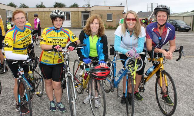 Pauline Joseph, Kirsty Nowak, Triona McCorry, Frances Clifford and Tina Curtin taking part in the Ardfert Harvest Cycle on Saturday morning. Photo by Dermot Crean