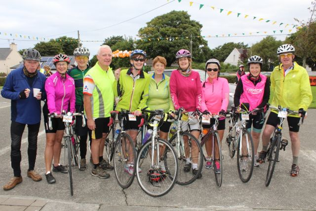 John Keohane, Helen Sweeney, Paudie Dineen, Gerry Carmody, Ann Meehan, Mary Fealy, Marie O'Connell, Maria Conway, Loretta O'Connor and Liam Gowan taking part in the Ardfert Harvest Cycle on Saturday morning. Photo by Dermot Crean