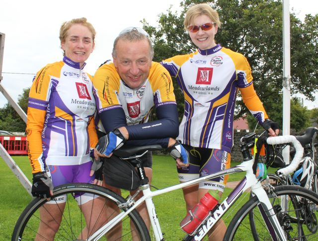 Margaret McGinley, Joe Sheehy and Avril Hewitt taking part in the Ardfert Harvest Cycle on Saturday morning. Photo by Dermot Crean