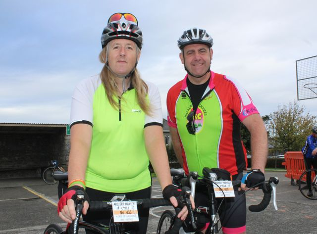 Mikki James and Timothy Clifford taking part in the Ardfert Harvest Cycle on Saturday morning. Photo by Dermot Crean