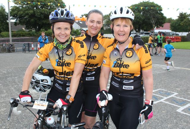 Tracy Smith, Orla Brosnan and Mags O'Connor taking part in the Ardfert Harvest Cycle on Saturday morning. Photo by Dermot Crean