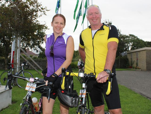 Bridget Moore and Kevin Williams taking part in the Ardfert Harvest Cycle on Saturday morning. Photo by Dermot Crean