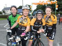 Maeve Ryan, Mags O'Connor, Sinead Kelleher and Kathleen Reidy taking part in the Ardfert Harvest Cycle on Saturday morning. Photo by Dermot Crean