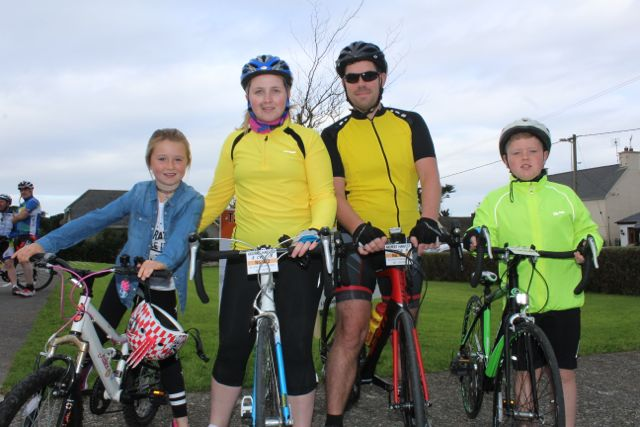 Ella and Audrey Fortune, PJ Corridon and Keelan Best taking part in the Ardfert Harvest Cycle on Saturday morning. Photo by Dermot Crean