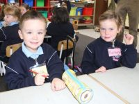 Junior Infants Dara Griffin and Muireann Wiseman at Ardfert NS on Friday morning. Photo by Dermot Crean