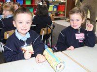 Junior Infants Dara Griffin and Muireann Wiseman at Ardfert NS on Friday morning. Photo by Dermot Crean