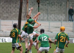 High-flying action from Sunday's game. Photo by Dermot Crean