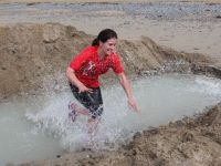Eilish Lyons splashes about at the Banna Beast Challenge on Saturday. Photo by Dermot Crean