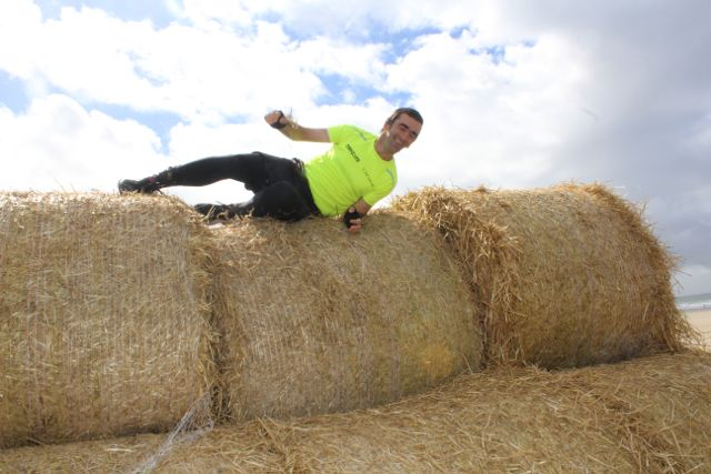 David Walsh mounts an obstacle at the Banna Beast Challenge on Saturday. Photo by Dermot Crean