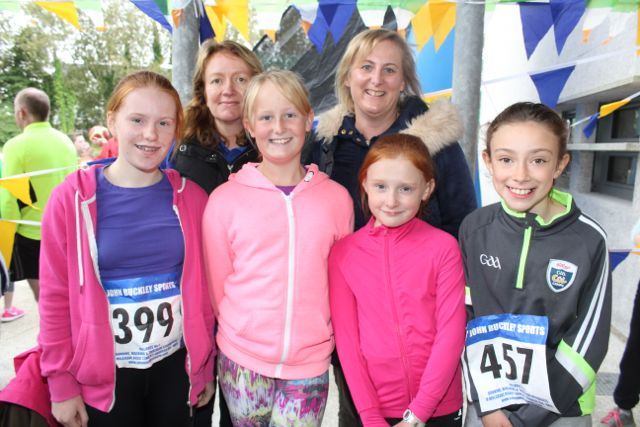 Roise O'Donnell, Caoimhe Lyons, Grace O'Donnell and Socha Casey with, at back, Caroline Casey and Erin Lyons at the CBS The Green Fun Run on Sunday afternoon. Photo by Dermot Crean