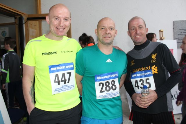 Declan Sheehan, Noel Wheatcroft and Gordon Baxter at the CBS The Green Fun Run on Sunday afternoon. Photo by Dermot Crean