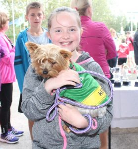 Rachel Prenderville with Izzy at the CBS The Green Fun Run on Sunday afternoon. Photo by Dermot Crean