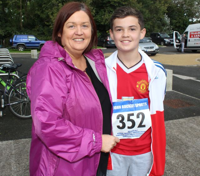 Margaret Kissane and son Thomas Maguire at the CBS The Green Fun Run on Sunday afternoon. Photo by Dermot Crean