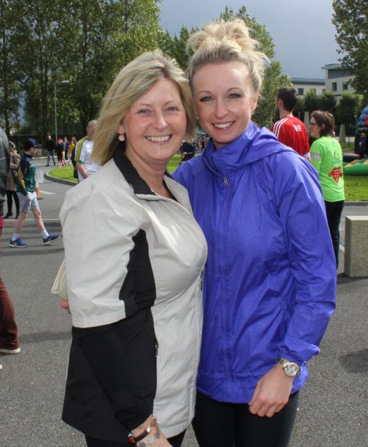 Vera Sugrue and Bridget Concagh at the CBS The Green Fun Run on Sunday afternoon. Photo by Dermot Crean