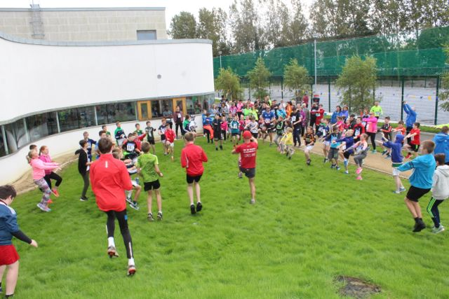 Warming up at the CBS The Green Fun Run on Sunday afternoon. Photo by Dermot Crean