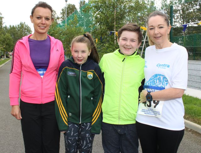 Maura Joy, Alexa Weiss, Sean Weiss and Mary Patwell at the CBS The Green Fun Run on Sunday afternoon. Photo by Dermot Crean