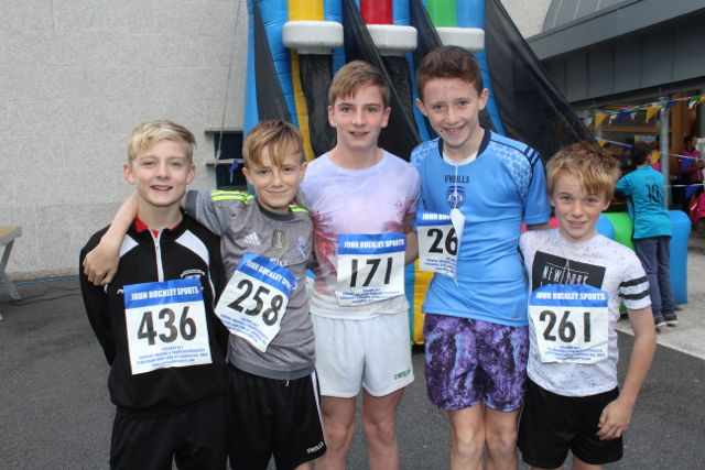 James Baxter, Thomas Lyne, Denis Moriarty, Jack Savage and David Callaghan at the CBS The Green Fun Run on Sunday afternoon. Photo by Dermot Crean