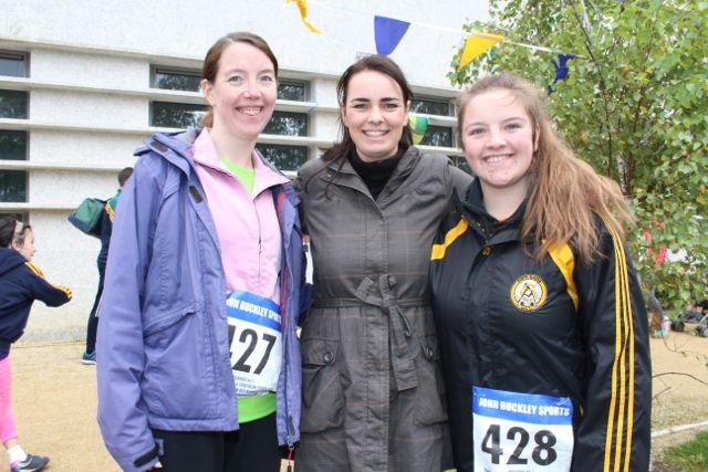 Tina Walsh, Sabrina Kirwan and Leanne Hanafin at the CBS The Green Fun Run on Sunday afternoon. Photo by Dermot Crean