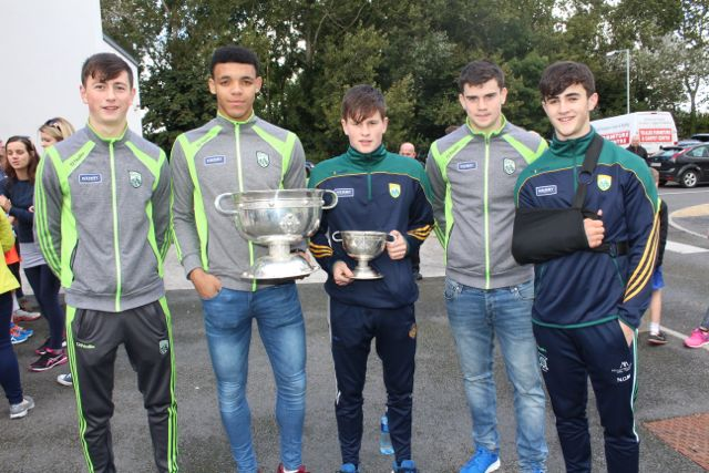 Kerry hurling and football minors Tomas O'Connor, Stefan Okunbor, Sean O'Donoghue, Kieran Dwyer and Niall O'Mahony at the CBS The Green Fun Run on Sunday afternoon. Photo by Dermot Crean